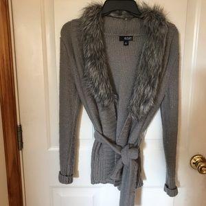 Gray a.n.a faux fur cardigan small petite
